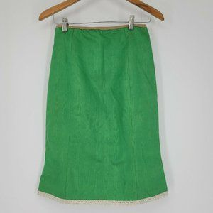 Tracy Feith Green A-line Skirt Lace Hem Size 1